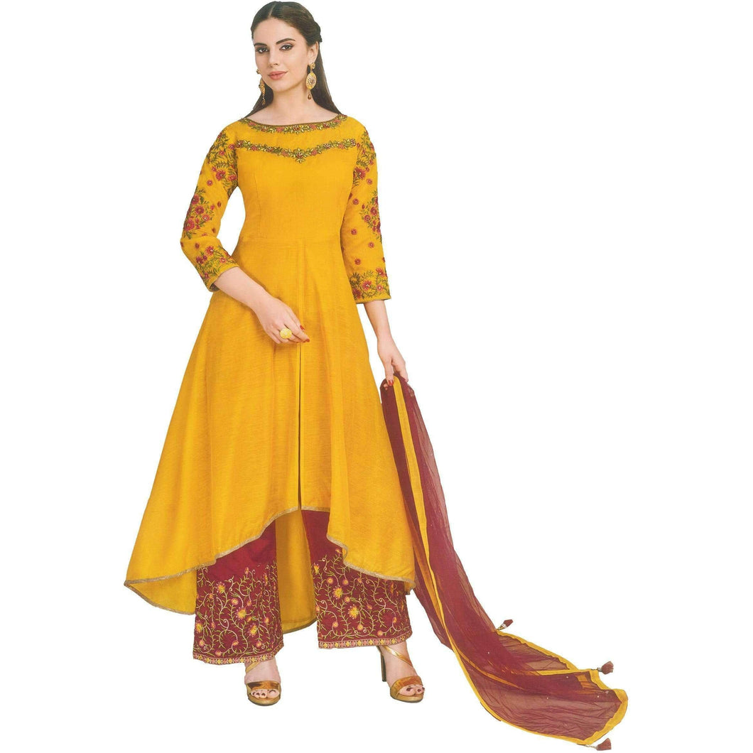 Aps Yellow Chanderi Party Wear Kurti with Net Dupatta and Palazzo-New Apsara