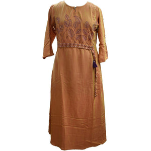 Aps Yellow Cotton Embroidered Kurti-New Apsara