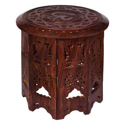 Om Carved Altar/ Display  Table