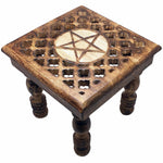 Carved Pentacle Altar Table / Stool