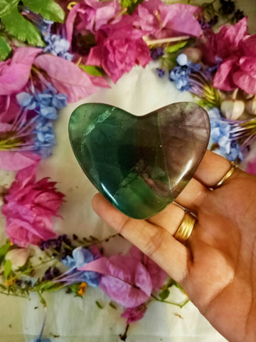 Large Rainbow Fluorite Heart