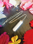 Sterling Silver Scolecite Point Necklace