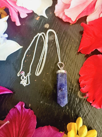 Sterling Silver Iolite Point Necklace