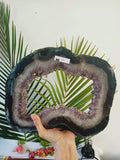 4.9kg Amethyst Geode Slice On Wood Base