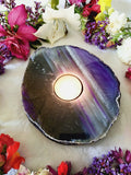 Purple Polished Face Agate Candle Holder