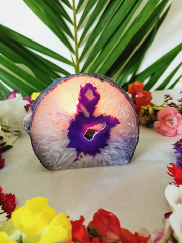 Purple Agate Cave Candle Holder