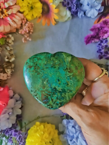Hand Carved Chrysocolla Heart