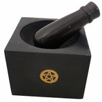 Black Pentacle Soap Stone Mortar and Pestle