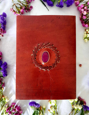Medium Pink Stone Leather Look Journal-Gypsy Divine-Gypsy Divine