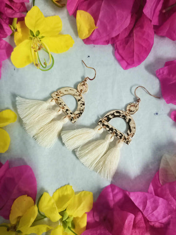 White Tassel Earrings-Gypsy Divine-Gypsy Divine