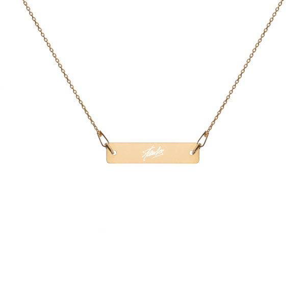 Stan Lee SIGNATURE - Engraved Silver Bar Chain Necklace