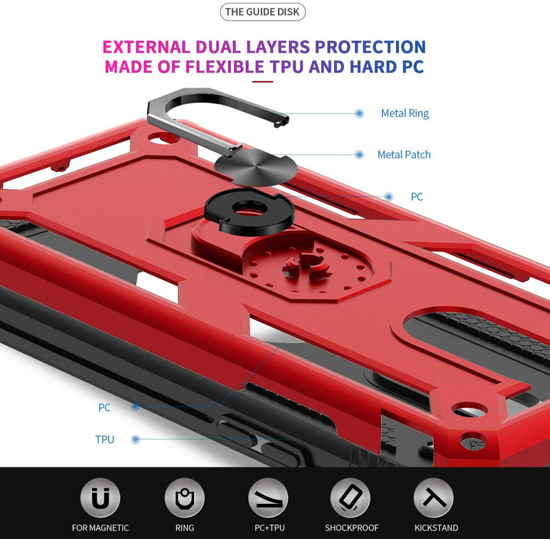 Red 2 Pack Not Fit A20 LeYi Samsung Galaxy A20S Case , with Tempered Glass Screen Protector Defender Protective Phone Case with Car Ring Holder Kickstand for Samsung A20S Military Grade