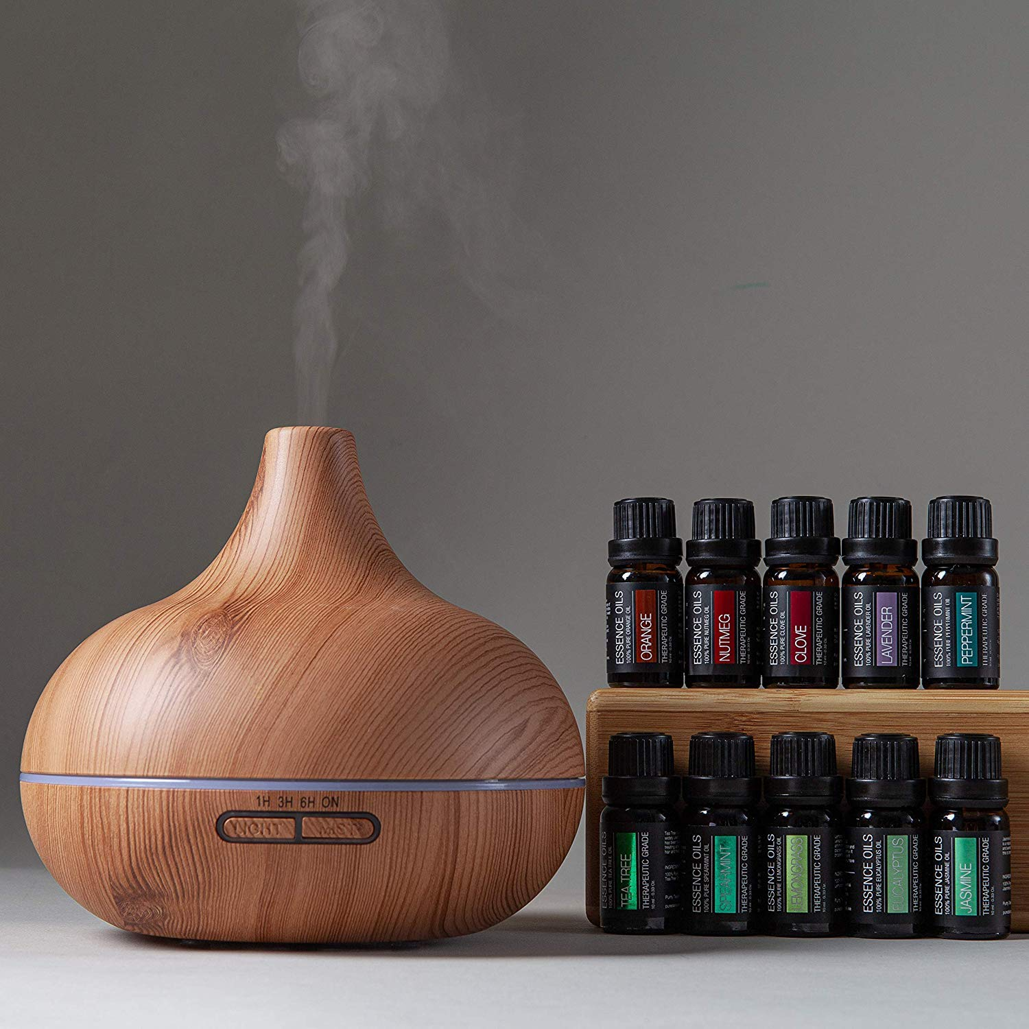Light Wood Ultimate Aromatherapy Diffuser & Essential Oil Set W/Rotating Display Stand