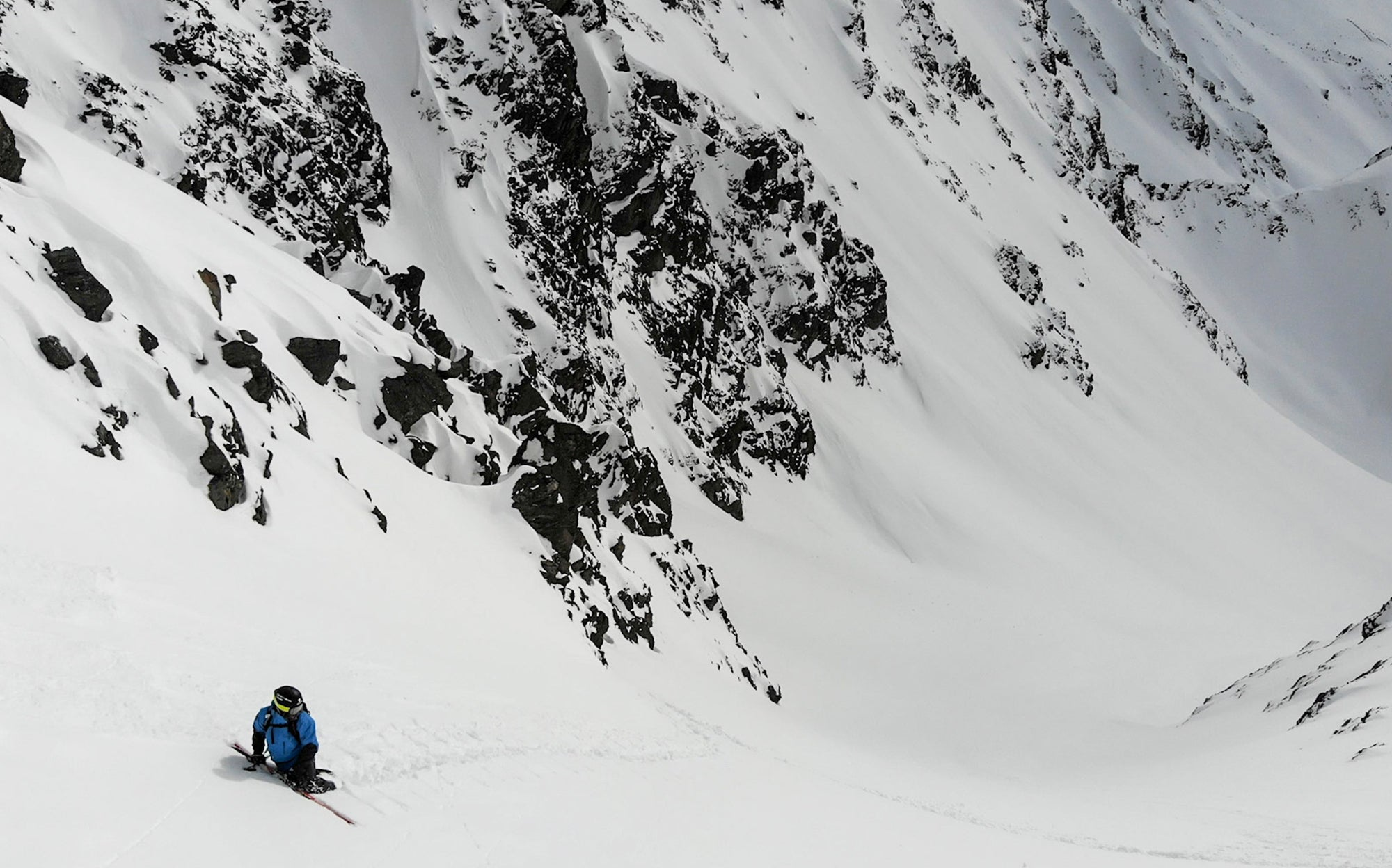 Xaver Kroll backcountry skiing in the TOBE Novo Mono Suit in Austria