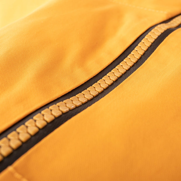 Every zipper on the Novo Jacket is a 100% waterproof YKK Aquaguard Zipper.