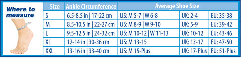 OrthoSleeve AF7 Size Chart