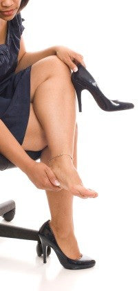 foot pain caused by plantar fasciitis. Wearing a compression foot sleeve can help provide plantar fasciitis treatment!