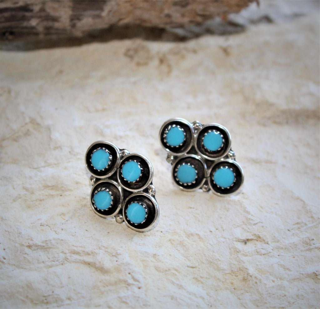 PN Small Turquoise Cluster Post Earrings