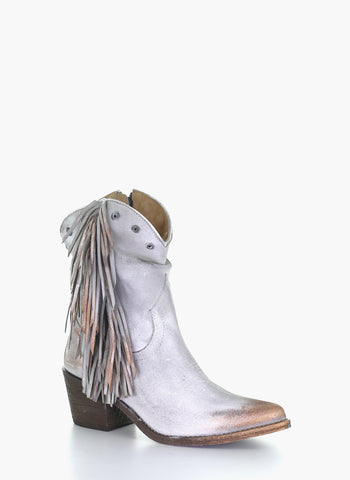 Circle G Grey Stud Fringe Ankle Boot