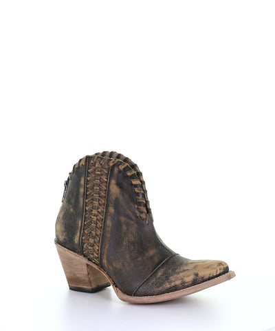 Corral Black Woven Ankle Boot
