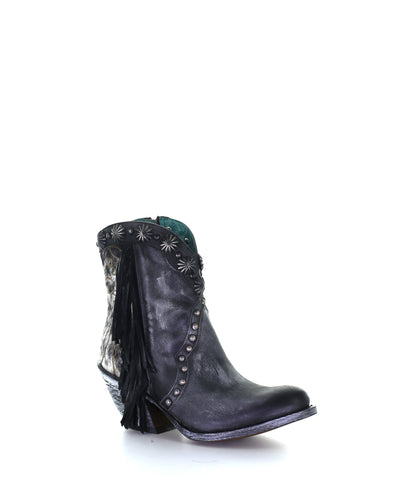 Corral Black Stud & Fringe Ankle Boot