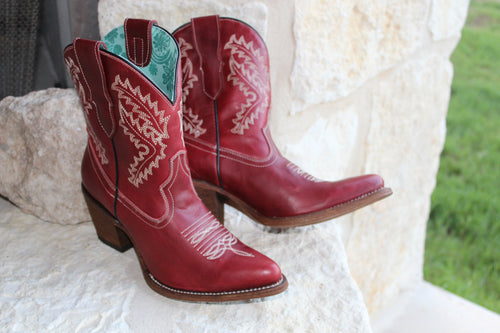 Corral Red Embroidered Ankle Boot