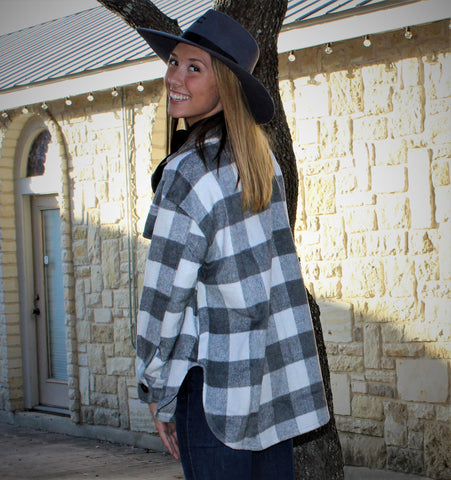 Grey  Plaid Oversized Jacket