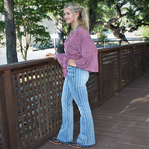 R&R Ryker Striped Denim Flares