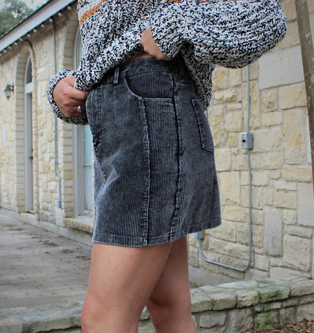 Black Washed Corduroy Skirt