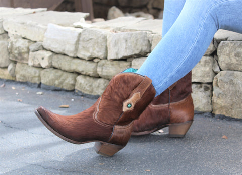 Corral Brown Concho Ankle Boot