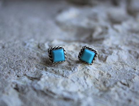 TB Square Turquoise Post Earrings
