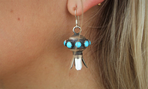 PT Turquoise Silver Blossom Earrings