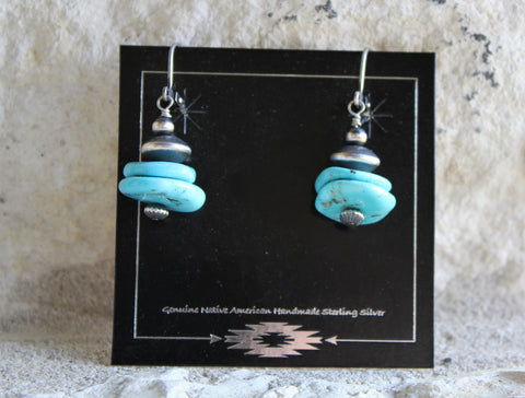 PT Turquoise/Navajo Disc Stacked Earrings