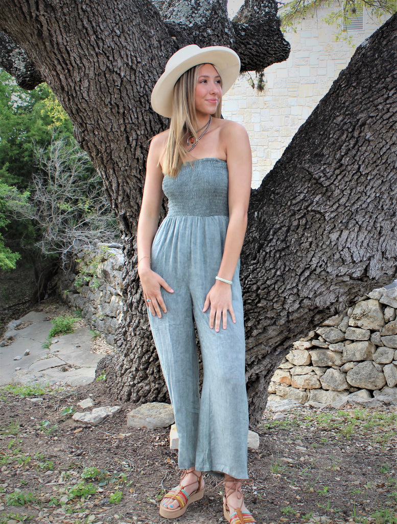 Smocked Tube Jumpsuit