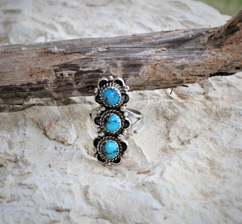 PN Three Turquoise Stone Ring