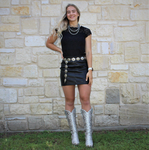Rock & Roll Faux Leather Skirt