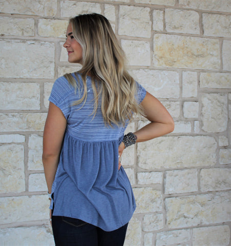 Vneck Blue Grey Top