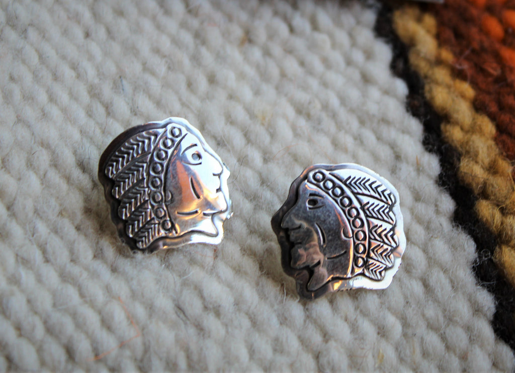 PN Native Head Stamped Silver Earring