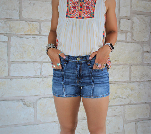 R&R Denim Front Seam Shorts