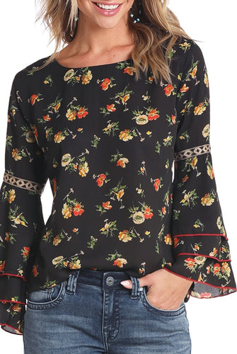 Rock & Roll Black Floral Bell Top