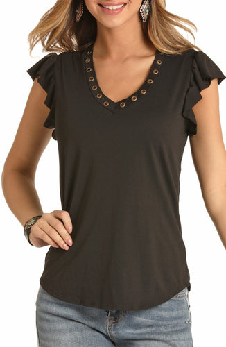 Rock & Roll Vneck Ruffled Sleeveless Top