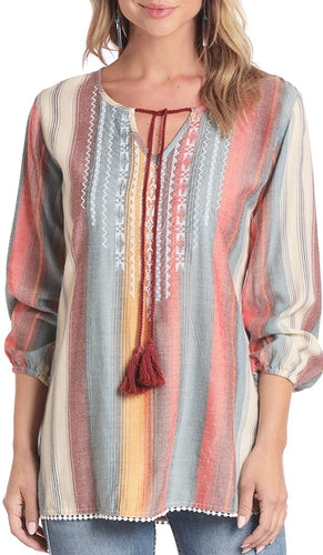Rock & Roll Embroidered Serape Peasant Top