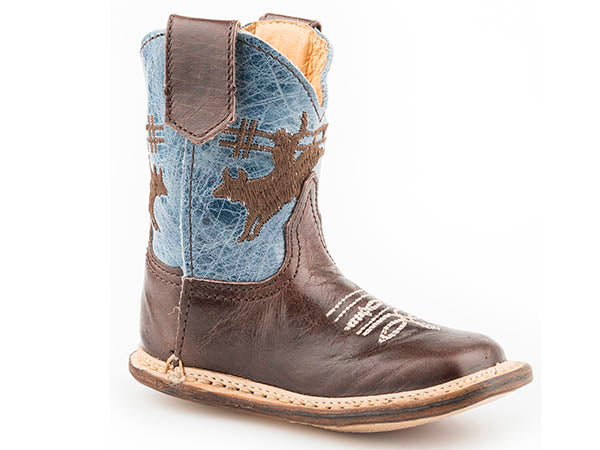Roper Brown Leather Bronc Baby Boots