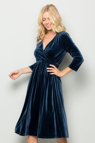 Velvet Midi Dress Dusty Blue