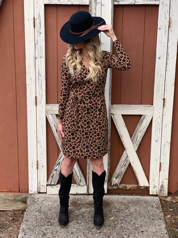 Leopard Faux Wrap Dress