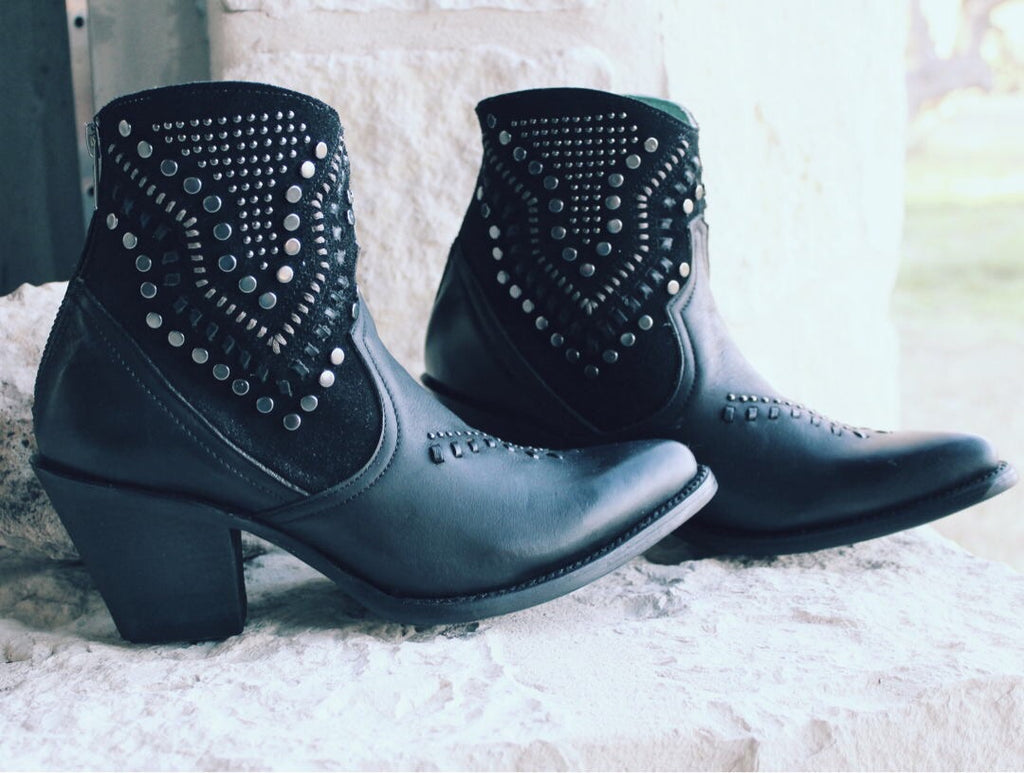 Corral Black Studs & Woven Ankle Boot