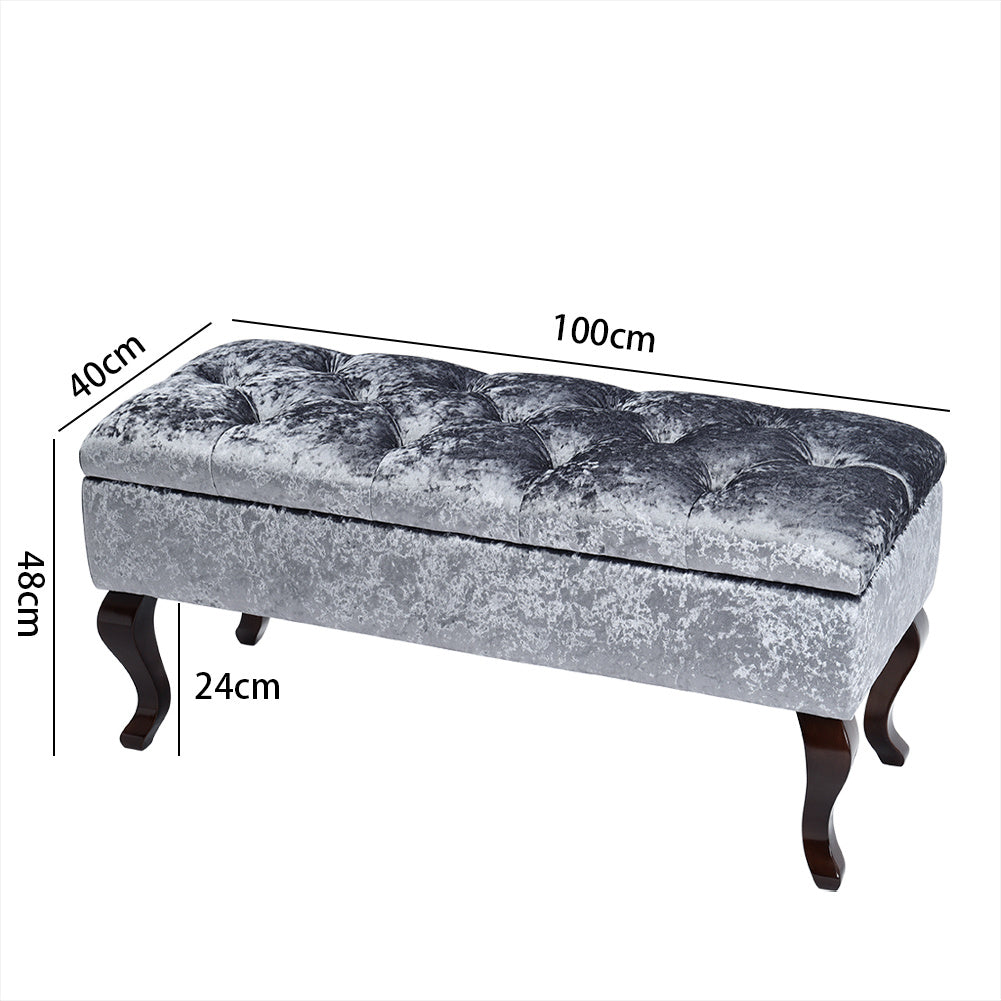 Buttoned Ice Crushed Velvet Upholstered Storage Bench with Retro Legs