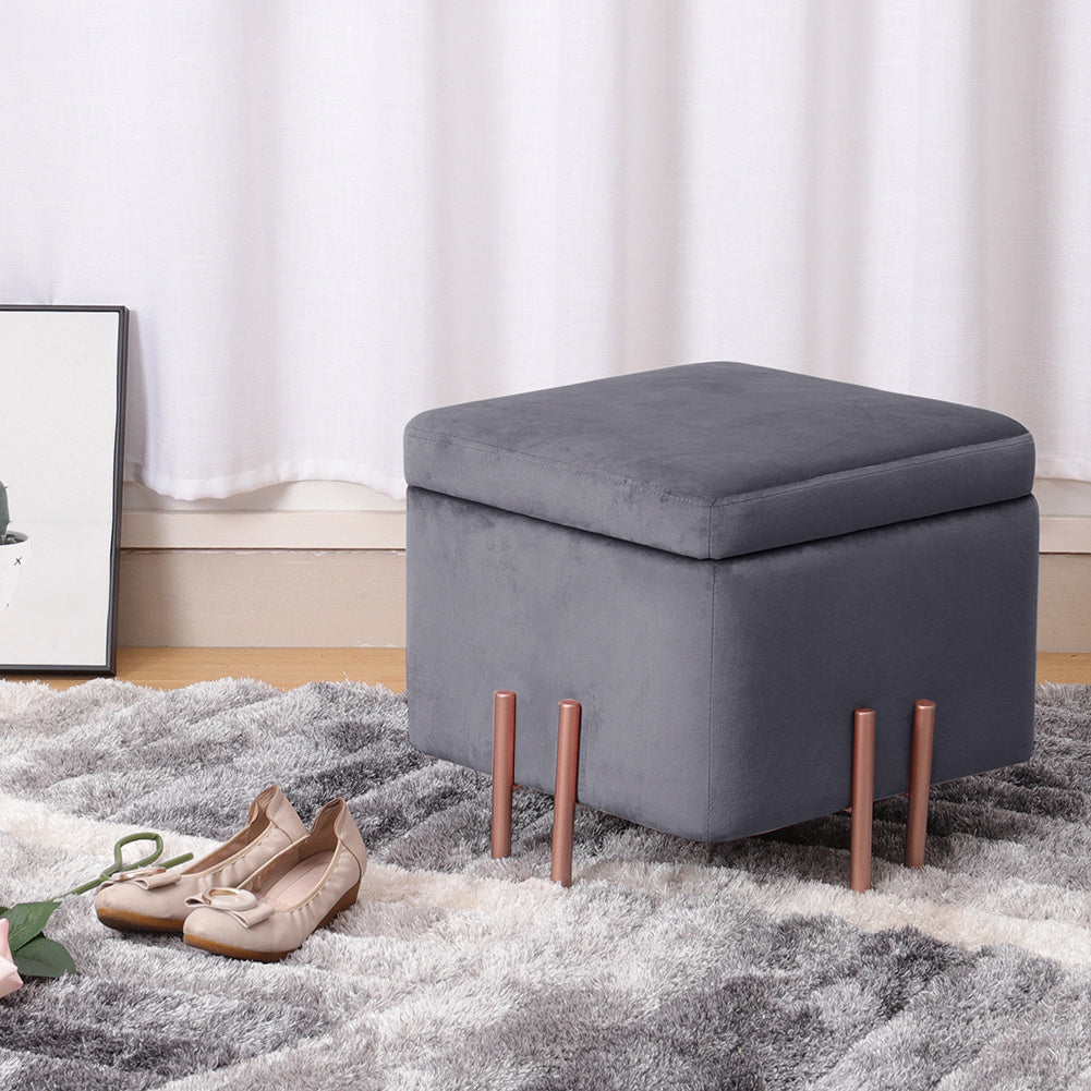 Chic Square Velet Accent Storage Footstool with Metal Legs