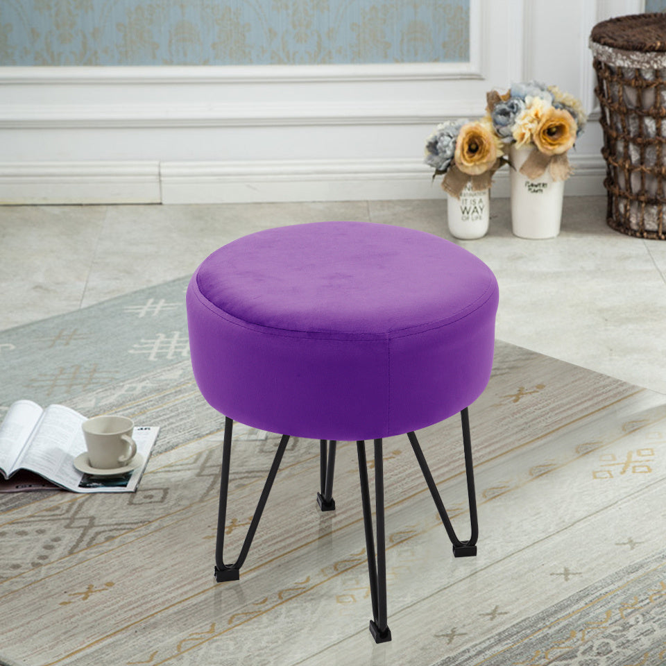 Octopus Metal Framed Velvet  Round Footstool