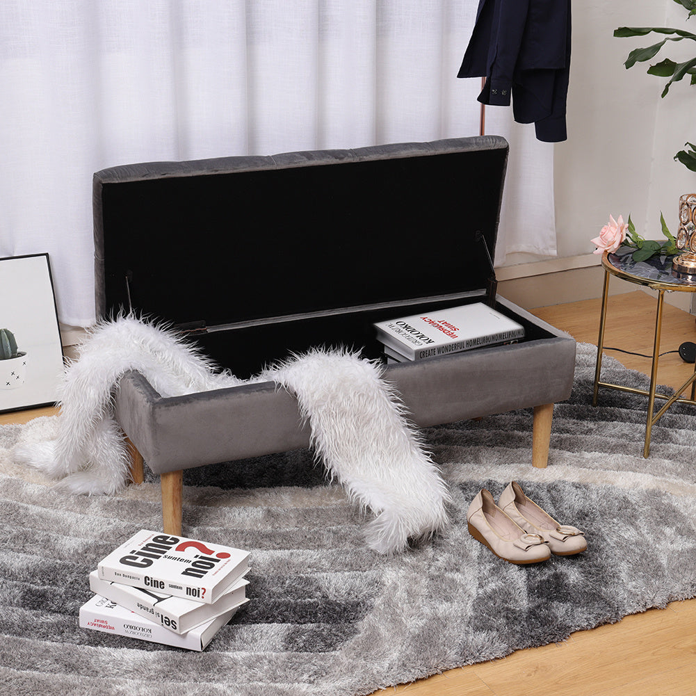 Buttoned Velvet Upholstered Storage Bench with Straight Legs